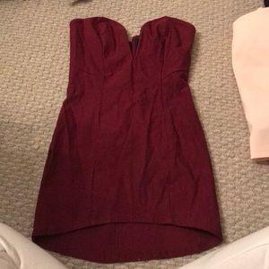 Maroon nasty gal mini strapless dress